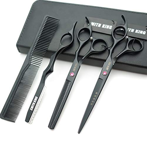 7.0 Inches Professional hair cutting thinning scissors set with razor (Black) (Professional Shears)
