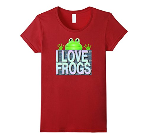 Women's I Love Frogs Shirt XL Cranberry
