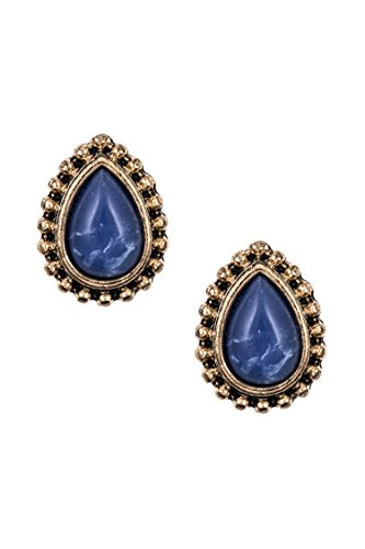 Earring Ayala Post (Karmas Canvas Dotted Framed Faux Teardrop Gem Post Earring (Burnished Gold/Blue))