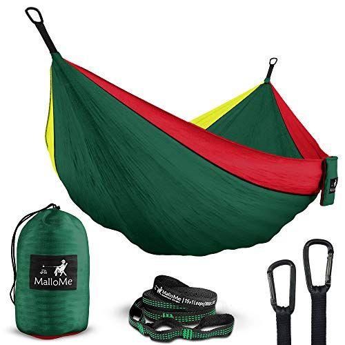 MalloMe Double & Single Portable Camping Hammock - Parachute Lightweight Nylon with Hammok Tree Straps Set- 2 Person Equipment Kids Accessories Max 1000 lbs Breaking Capacity - Free 2 Carabiners ()