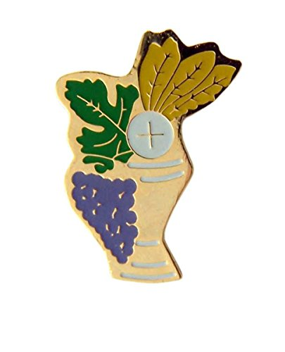 Pin Lapel Chalice - Gold Tone and Enamel First Holy Communion Chalice and Grapes Lapel Pin, 15/16 Inch