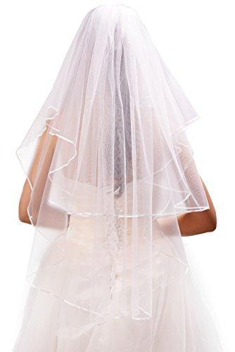 Beautiful One Tier (Deceny CB Wedding Veil White 2 Tier Ribbon Edge Bridal Veil with)