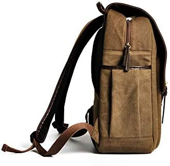 Color : Brown, Size : S LHQ-Camera Bag Waterproof Canvas Outdoor Travel Bag for Mens Hiking Camera Large Capacity Multi-Function Backpack Camera Bag