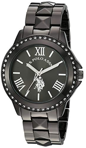 U.S. Polo Assn. Women's Watch with Crystal Studded Bezel, Alloy Bracelet Strap with Jewelry Clasp