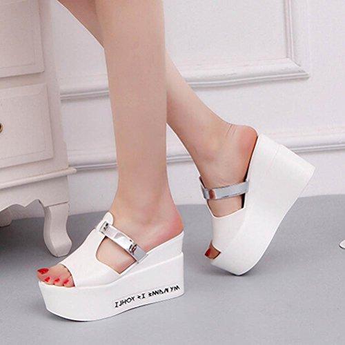 Rumas Femmes Confort Haut Talons Pantoufles Sandales Plate-forme Shopping Flip Flop Blanc