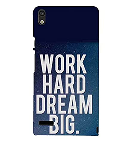Huawei Ascend P6 Work Hard Dream Big Blue Wallpaper Designer Printed High Quality Smooth