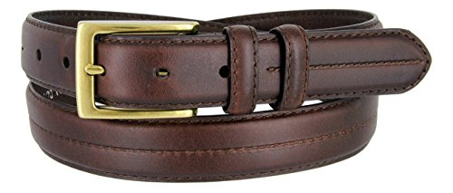 HJ-20 Mens Italian Oil-Tanned Genuine Leather Dress Belt In Brown 1-1/8