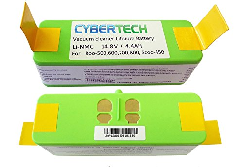 Lithium Li-Ion Replacement Battery for iRobot Scooba 450 Roomba 500,600,700,800 900 960 980Series, High Capacity 4400mAh,SUPER LONG-LIFE(800 CYCLE TIMES) by CyberTech,UL&CE Certified Battery Component -