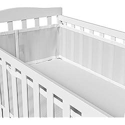 Breathable Crib Bumper White Mesh Crib Bumper for Full-Size Crib Breathable Mesh Crib Liner