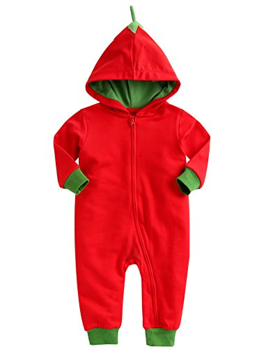 Vaenait Baby 0-24 Months Boys Girls Hooded Jumpsuit Rompers Basket Red Toto S