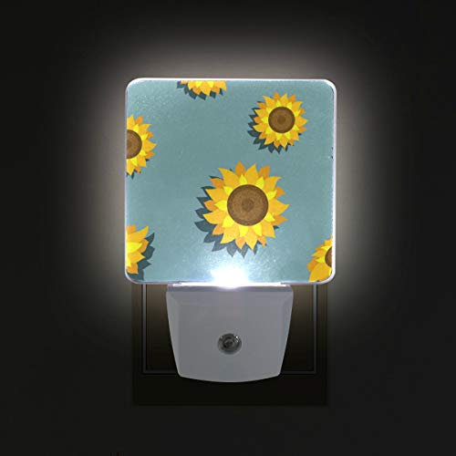 Night Light Blue Sunflower Led Light Lamp for Hallway, Kitchen, Bathroom, Bedroom, Stairs, DaylightWhite, Bedroom, Compact by OuLian (Image #4)