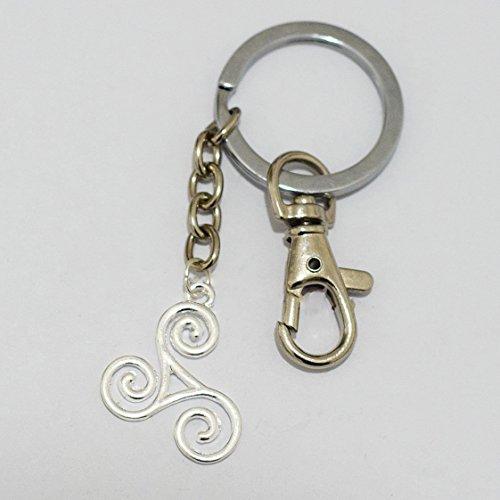 Triskele Keychain Triskilion Keychain Triple Spiral Celtic Knot Irish Jewelry Silver (Trinity Spiral)