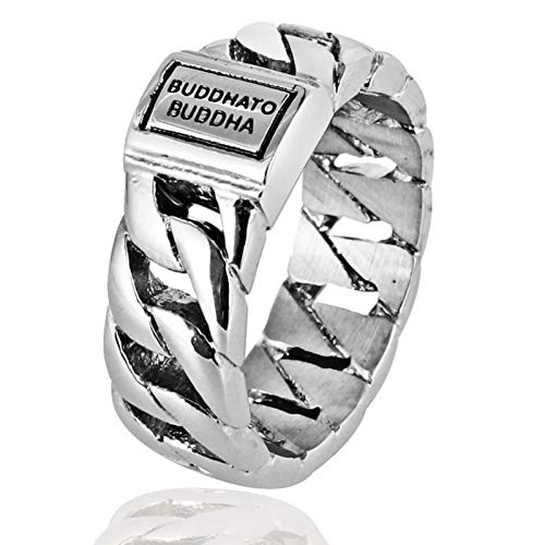 Aokarry Jewelry-Stainless Steel Ring for Men Boy Bands Rings Curb Chain BUDDHADO Buddha Engraved Silver 9MM Size12