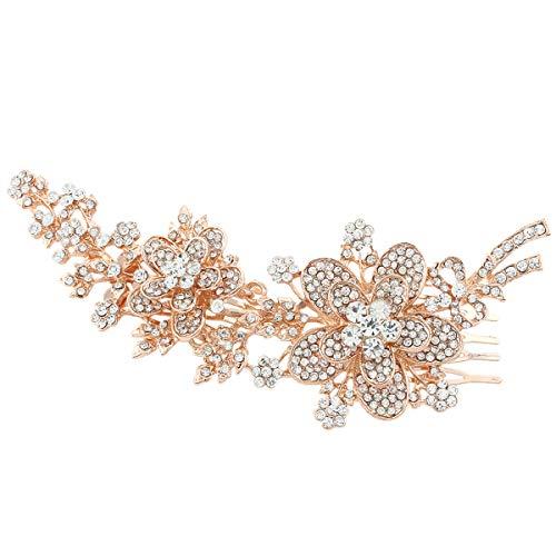 EVER FAITH 6 Inch Flower Leaf Bowknot Hair Comb Clear Austrian Crystal Gold-Tone