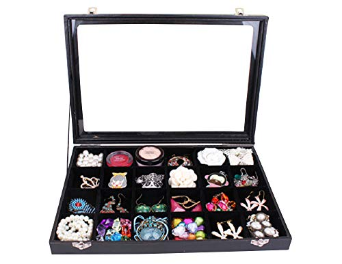 Wuligirl Clear Lid 24 Grid Jewelry Box Case Organizer Showcase Stackable Display Jewelry Removable Black Velvet with Lock (24 Grid Box)