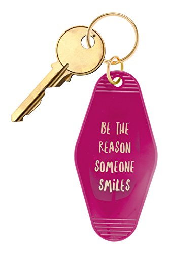 "Inspired Key Fob (Bops Retro Motel/Hotel Style Keychain ""Be The Reason Someone Smiles"" Vintage Inspired Keychain + Inspirational Quote)"