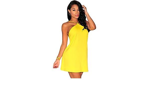 Para mujer amarillo trasero ajustados vestido de fiesta vestido Casual verano patinador vestidos L para UK 12: Amazon.es: Bricolaje y herramientas