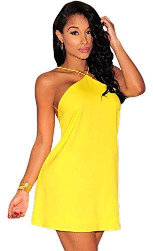 Para mujer amarillo trasero ajustados vestido de fiesta vestido Casual verano patinador vestidos L para UK