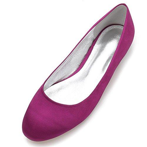 SatéN Punta Redonda Mujeres Planos De Cerrado del La Cabeza La Seda De Satinado Las Zapatos De F5049 Purple 17 De Boda Pie De Zapatos SAqRUqz