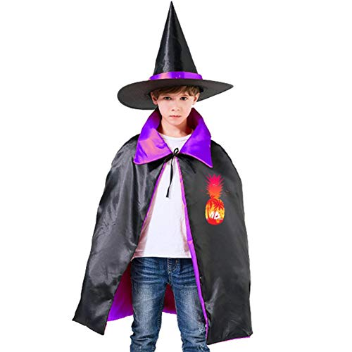 Tropical Kids Cape Halloween Costumes Reversible Cloak with Wizard Hat Purple -