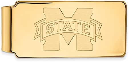Sterling Silver w/ 14K Yellow Gold-Plated LogoArt Official Licensed Collegiate Mississippi State University (MSU) Money Clip