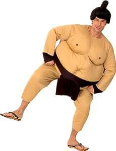 Traje traje de gordo luchador de sumo. Tamaño: M / L, con una peluca