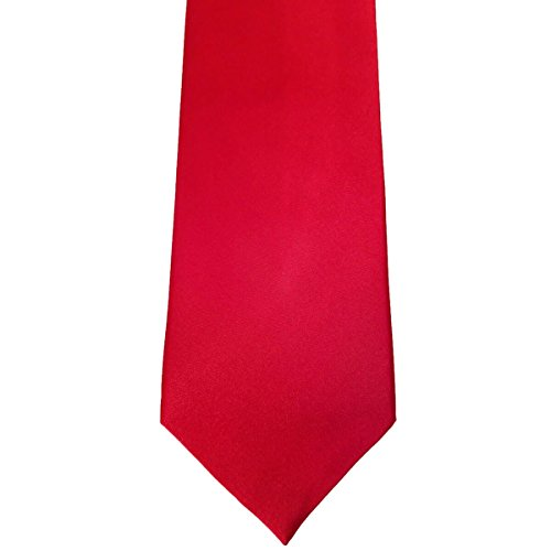 Red Solid 100% Silk 3.5 Inch Wide Necktie