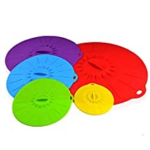 Ticent Microwave Cover Silicone Lids - 4, 6, 8, 10 and 12 inch - Suction Covers For Pots, Frying Pans, Bowls, Cups, Cans and Skillets Food Storage BPA Free Oven (Set of 5)