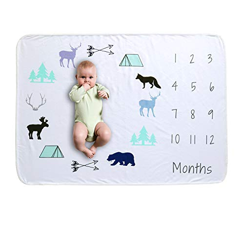 VERISA Adorable Baby Milestone Blanket - Cute & Soft Polyester Cotton Monthly Milestones Blankets for Boy & Girl - Comfortable Month Blanket for Pictures - Newborn Growth Photo Blanket for Baby Shower