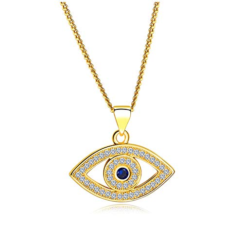 HQLA 18K Yellow Gold Plated & White Gold Plated CZ Evil Eye Pendent Necklace with Mini Cubic Zirconia Cobalt Blue Glass Center Stone for Women Teen Girls (Hollowed Gold Style B)