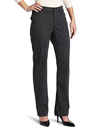 Lee Women's Comfort Fit Straight Leg Pant, Charcoal Heather, 6 Short