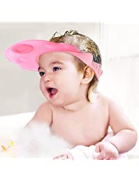 Baby Mate 2 PCS Adjustable Baby Safety Bath Cap - Waterproof Baby Shower Cap - Safe Shampoo Shower Bathing Protect Cap Hat - Shampoo Visor Baby Sun Hat (Pink & Blue, Buckle, 2 PCS) 3081 BOBEBE Online Baby Store From New York to Miami and Los Angeles