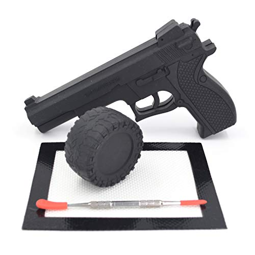 Auchee Pistol Gun Shaped Nonstick silicone jar + Tire Wax Oil Silicone Herb Stash Jar + Carving Tool with Silicone Tips + Silicone Mat for Storage Sticky Concentrations,Cream,Lip Balm,Pill (Tire Kit)