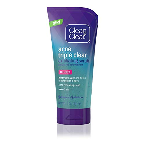 - Clean & Clear Acne Triple Clear Exfoliating Facial Scrub with Salicylic Acid Acne Medicine, Aloe & Mint for Acne-Prone Skin Care, Oil-Free & Non-Comedogenic, 5 oz (Pack of 3)
