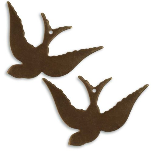 - Vintaj Natural Brass Altered Blank Stamping Songbird 42x28mm (2)
