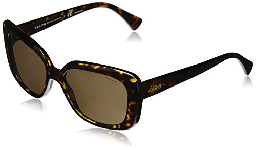 Ralph by Ralph Lauren Women's Plastic Woman Sunglass Rectangular, SHINY DARK HAVANA, 55 ()