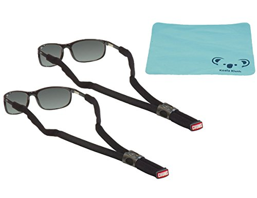 Chums Classic Glassfloats Floating Eyewear Retainer Sunglass Strap | Eyeglass & Glasses Float | Water Sports Holder Keeper Lanyard | 2pk Bundle + Cloth, Black -