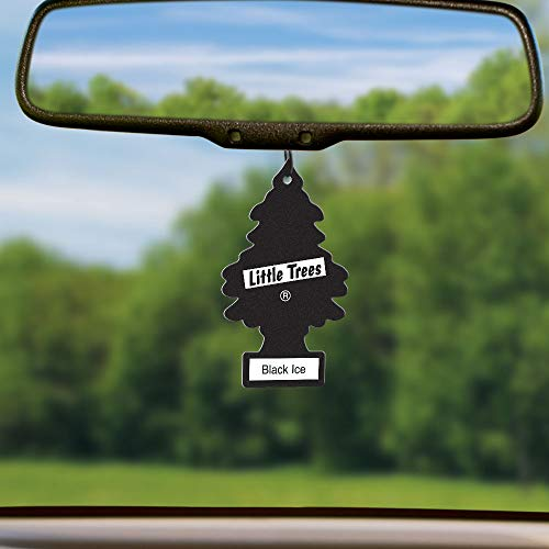 LITTLE TREES Car Air Freshener | Hanging Tree Provides Long Lasting Scent for Auto or Home | Black Ice, 6-packs (4 count)