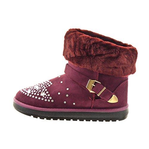 Sopily - Chaussure Mode Bottine Cheville femmes strass diamant fourrure boucle Talon bloc 2.5 CM - Intérieur fourrure synthétique - fourrée - Rouge