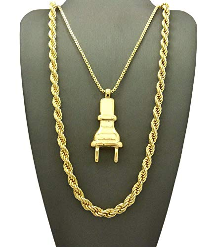Werrox New ICED Out Electric Power Plug Pendant 6mm/30 Chain Necklace RC1999G   Model NCKLCS - 6970   ()
