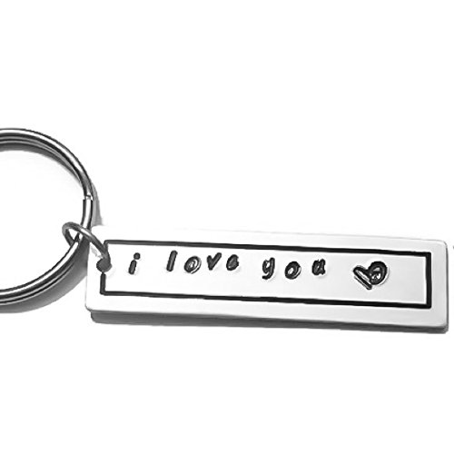 I Love You ♥ Hand Stamped Key Chain Gift for Boyfriend/Girlfriend/Mom/Dad/Loved One/Fiancee