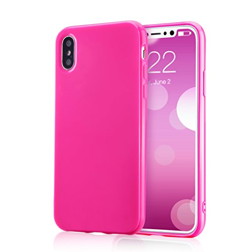 for iPhone Xs Pink Case, technext020 Shockproof Ultra Slim Fit Silicone iPhone 10 Cover TPU Soft Gel Rubber Cover Shock Resistance Protective Back Bumper for Apple iPhone X Pink
