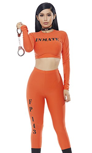 Forplay Women's Cuff me Up' Inmate 2pc. Costume Set, Orange, S/M