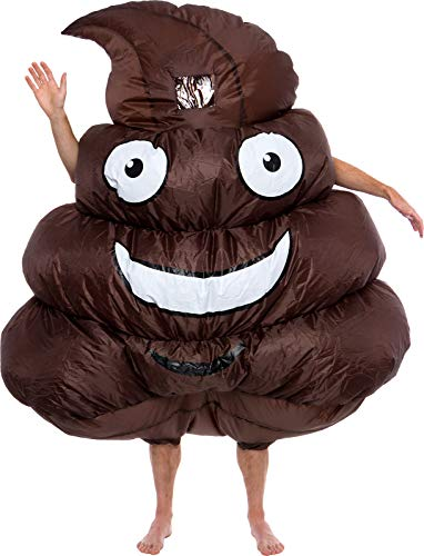 Funny Inflatable 3D Emoji Costume - Adult Blow Up Full Body Halloween Costume for Men & Women Brown -