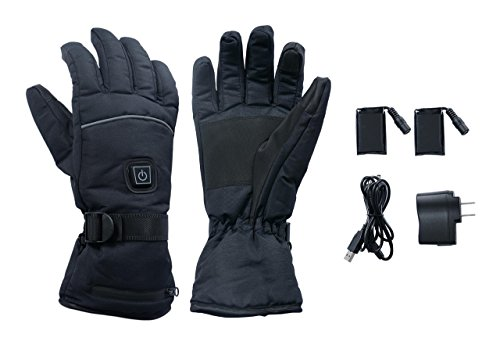 Rechargeable Battery Heated Winter Gloves for Men and Women, Black