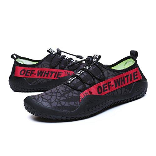 Respirants Bain Aquatiques Sports de de Rouge Yoga Femme Plage Fitness Chaussures de pour Chaussures BAOLESEM Homme Chaussures Rapide 7wq10Fx