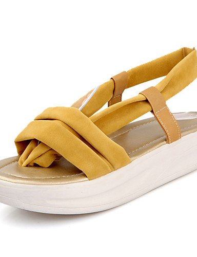 LFNLYX Zapatos de mujer-Plataforma-Plataforma / Comfort-Sandalias-Vestido / Casual-Semicuero-Negro / Azul / Amarillo / Rojo Yellow