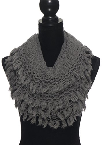 Knit Scarf with Tassels Fringe Cute Crochet Winter Scarfs For Women Infinity Scarves - Grey
