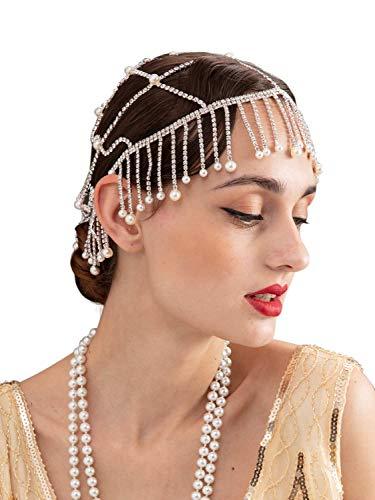 SWEETV Silver 1920s Headpiece Rhinestone - Flapper Headband Beaded Cap Art Decor 20s Accessories for The Great Gatsby Party