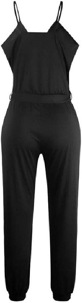 Joe Wenko Womens Sleeveless Belt Slim Romper Spaghetti Strap Low Cut Pants Jumpsuits